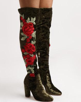 Footwork Royal Printer Block Heel OTK Boots Khaki