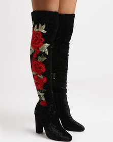 Footwork Royal Printer Block Heel OTK Boots Black