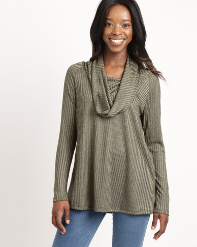 Slick Off Shoulder Long Sleeve Top Khaki