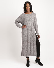 Slick Long Sleeve With Slits Tunic Black