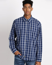 Jeep Check Long Sleeve Shirt Airforce/Navy