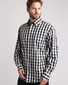 Jeep Long Sleeve Check Shirt Black & White