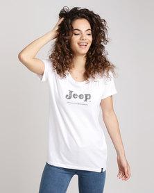 Jeep Core Scoop Neck T-Shirt White