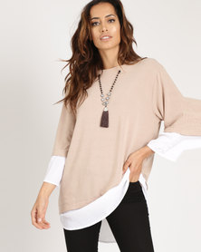 G Couture Woven Trimmed Top With Chain Detail Stone