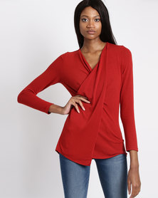 G Couture Mock Wrap Top Burnt Orange