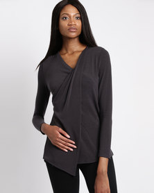 G Couture Mock Wrap Top Burnt Grey
