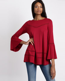 G Couture Swing Top With Crochet Insets Red