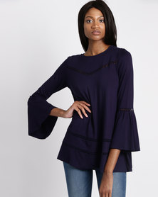 G Couture Swing Top With Crochet Insets Navy