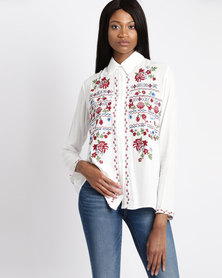 G Couture Embroidered Shirt White