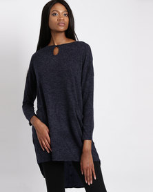 G Couture Tunic Top With Keyhole Navy Melange