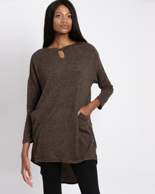 G Couture Tunic Top With Keyhole Taupe