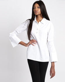 G Couture Shirt With Press Studs White