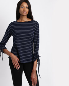 G Couture Striped Top With Gathered Sleeve Detail Navy