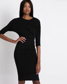 City Goddess London Three Quarter Sleeved Midi Dress with Side Pleating Detail Black