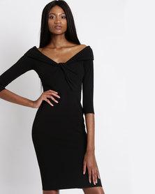 City Goddess London Long Sleeved Midi Dress with Twisted Neckline Black