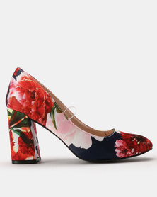 Footwork Colo Printed Court Heels Navy