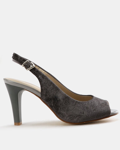Queue Embossed Peeptoe Slingback Grey