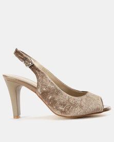 Queue Embossed Peeptoe Slingback Nude