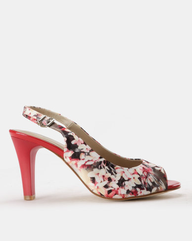 Queue Peeptoe Slingback Red/Multi