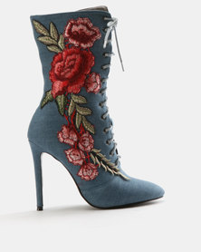 Wild Alice by Queue Lace Up Boots with Embroidery Blue Denim