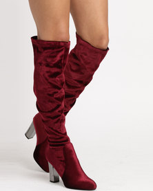 Wild Alice by Queue LONG OVER THE KNEE VELOUR BOOT BURGUNDY