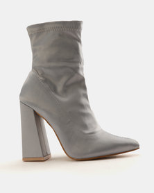 Public Desire Adore Ankle Boots Silver