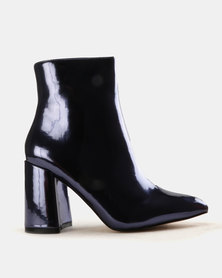 Public Desire Alpha Mirror Ankle Boots Navy