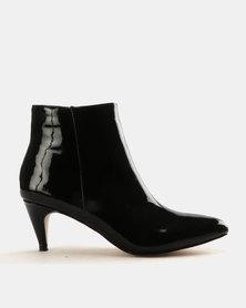 Public Desire Atomic Patent PU Ankle Boots Black