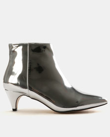 Public Desire Atomic Mirror PU Ankle Boots Silver