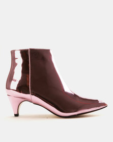 Public Desire Atomic Mirror PU Ankle Boots Pink