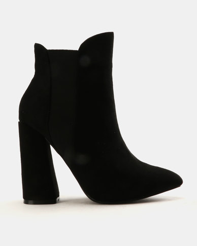 Public Desire Bentley Faux Suede Ankle Boots Black
