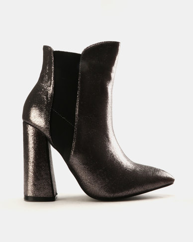 a33000b89d Public Desire Bentley Shimmer Ankle Boots Pewter | Zando