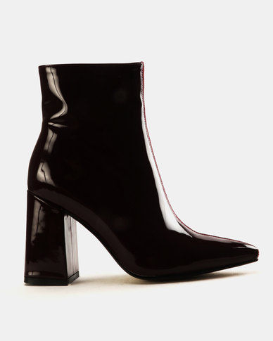 Public Desire Chaos Faux And Patent Leather Ankle Boots Burgundy