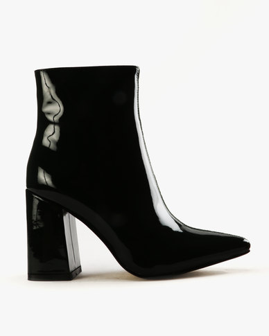 Public Desire Chaos Faux And Patent Leather Ankle Boots Green