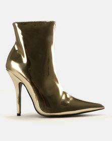 Public Desire Knightsbrigde Ankle Boots Gold Mirror