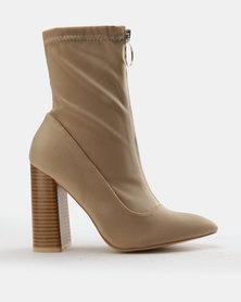 Public Desire Sceptic Ankle Boots Nude Lycra