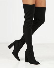 Public Desire Swoon OTK Lycra Boots Black