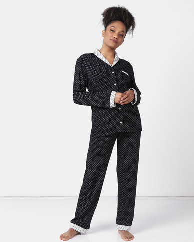Poppy Divine Classic Contrast Collar & Cuff PJ Set Black/Grey