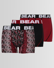 Bear 3 Pack Urban Abstract Bodyshort Burgundy