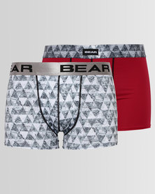 Bear 2 Pack Triangle Bodyshort Grey/Burgundy