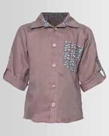 Myang Linen Shirt With Car Trim Taupe