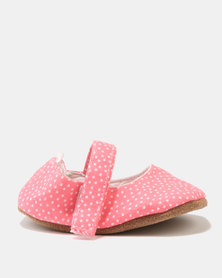 Myang Pindot Mary Jane Shoes Coral & White