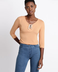 Jota-Kena D'Arcy Lace Up Crop Top Peach