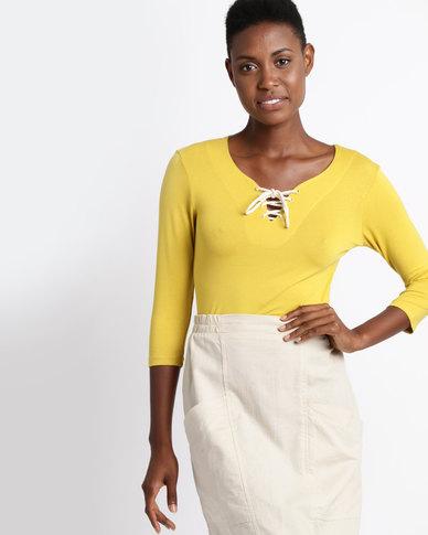 Jota-Kena D'Arcy Lace Up Crop Top Yellow
