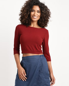 Jota-Kena Lydia Crop Top Burgundy
