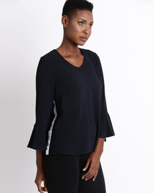 Gordon Smith Ruffled Sleeve Top Navy