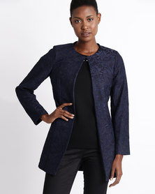 Queenspark Longer Length Lace Woven Jacket Navy