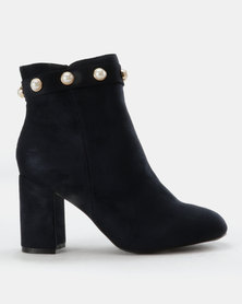 Queenspark Pearl Cuff Ankle Boots Navy