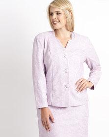 Queenspark Plus Bonded Lace Knit Jacket Lilac