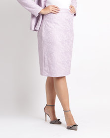 Queenspark Plus Bonded Lace Knit Skirt Lilac